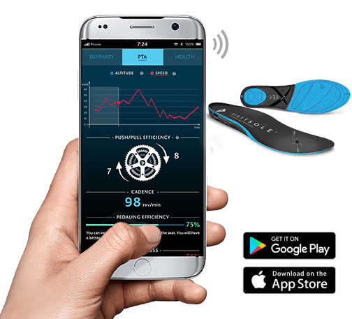 Application connected insoles cycling